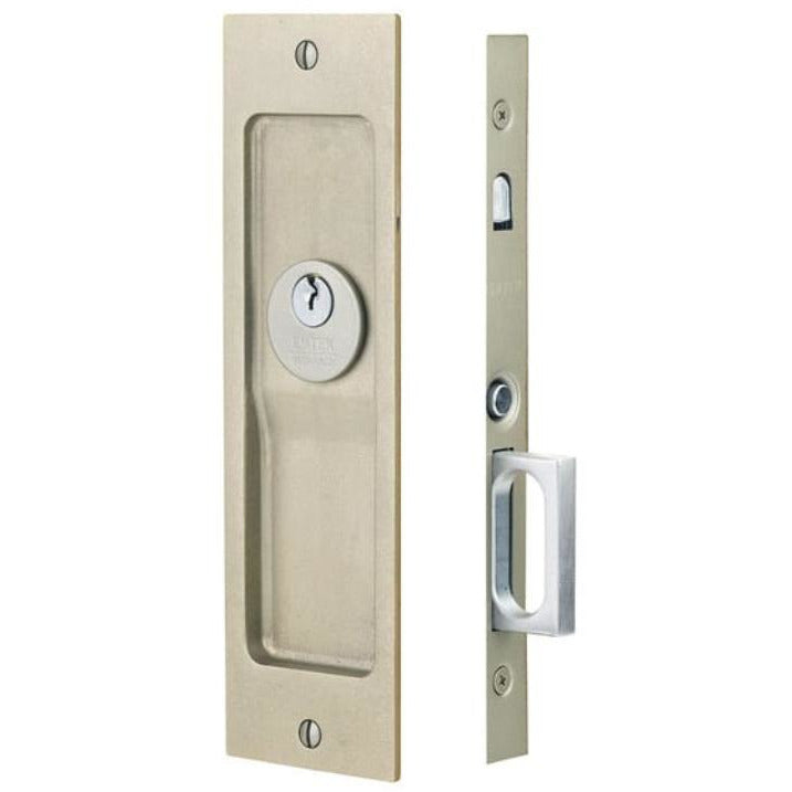 Emtek 2123 Tall Keyed Entry Mortise Pocket Door Lock from the Rustic Modern Rectangular Collection. - Designer Entryway door locks access control intercoms home automation