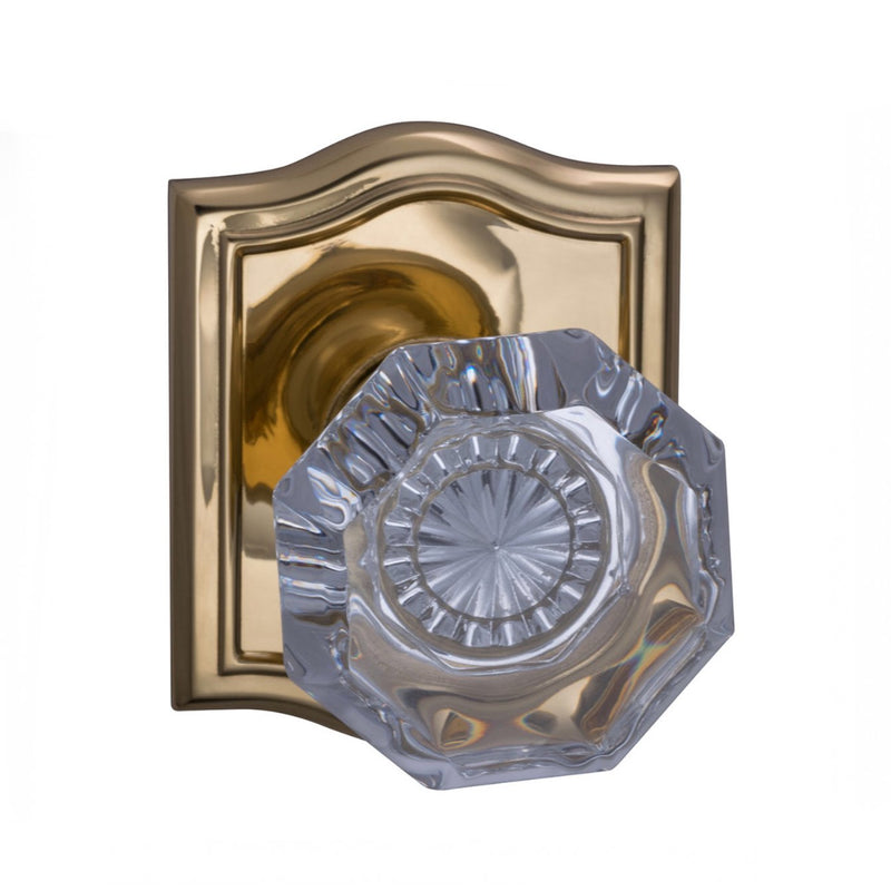 Omnia 955ARPA Passage Door Knob Set with Glass Knob and Arched Rose from the Prodigy Collection - Designer Entryway door locks access control intercoms home automation