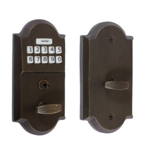 -Emtek E1001 Single Cylinder Cast Bronze Electronic Deadbolt from the Sandcast Bronze Collection - Designer Entryway door locks access control intercoms home automation