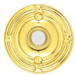 "-Emtek 2407 2-3/4"" Diameter Ribbon and Reed Style Brass Lighted Doorbell Rosette - Designer Entryway door locks access control intercoms home automation"