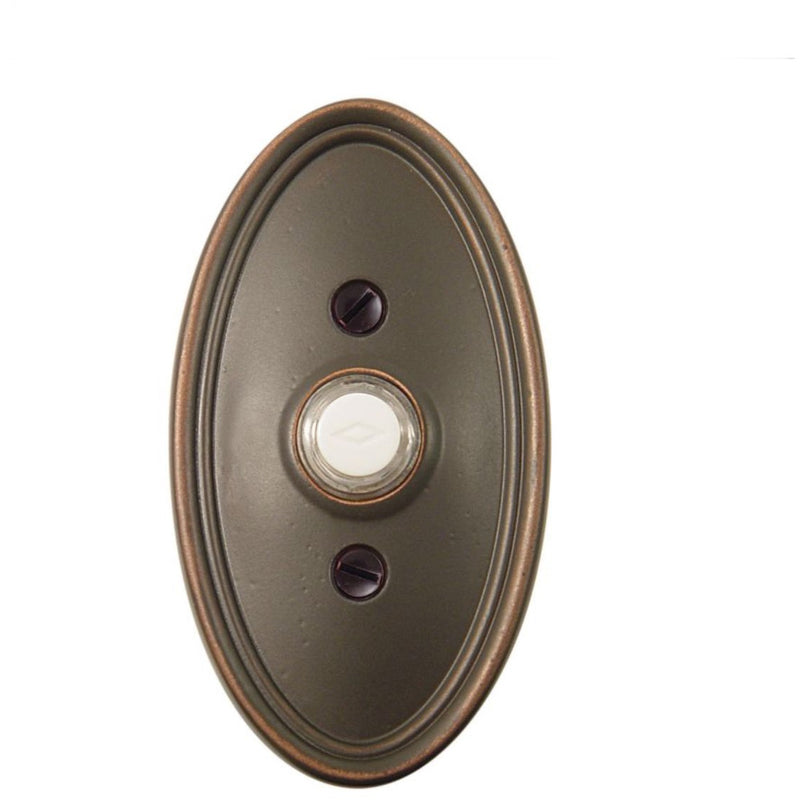 Emtek 2402 Oval Style Brass Lighted Doorbell Rosette. - Designer Entryway door locks access control intercoms home automation