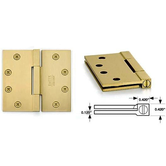 Emtek 96314 NEW Leaf Thickness Expansion! Heavy Duty, Square Barrel Solid Brass Hinges. - Designer Entryway door locks access control intercoms home automation