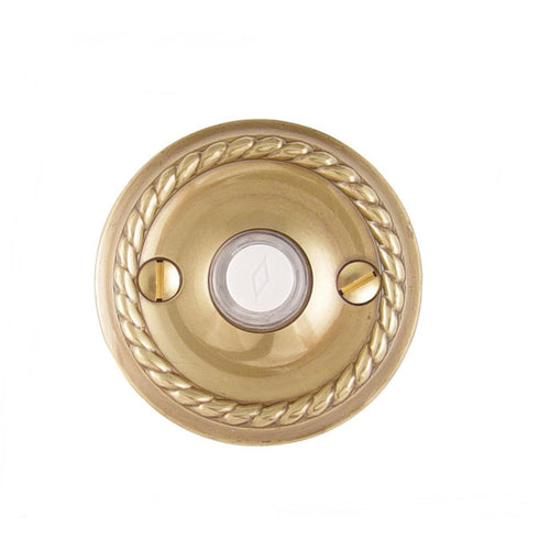 Emtek 2401 Rope Style Brass Lighted Doorbell Rosette. - Designer Entryway door locks access control intercoms home automation