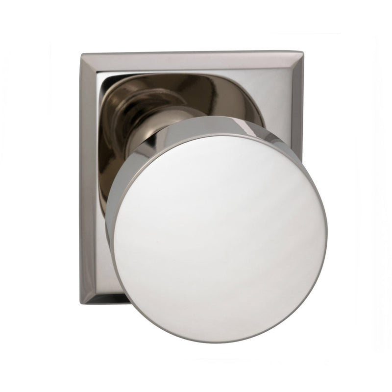 Omnia 935RTPR Puck Privacy Door Knob Set with Rectangular Style Rose from the Prodigy Collection - Designer Entryway door locks access control intercoms home automation