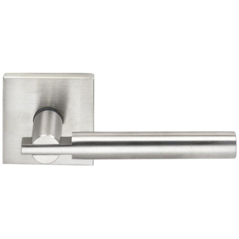 "Omnia 25SPA Passage Door Leverset with 2-7/16"" Square Modern Rosette from the Stainless Steel Collection - Designer Entryway door locks access control intercoms home automation"