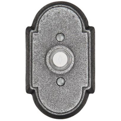 "-Emtek 2431 4-1/2"" Height #1 Style Steel Lighted Doorbell Rosette from the Wrought Steel Collection - Designer Entryway door locks access control intercoms home automation"
