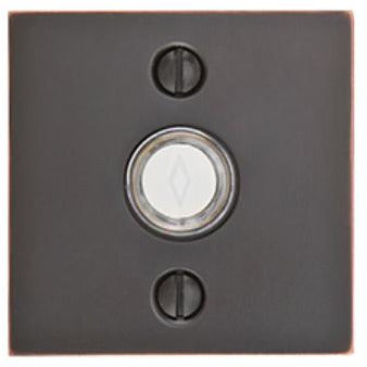 Emtek 2459 Square Style Brass Lighted Doorbell Rosette. - Designer Entryway door locks access control intercoms home automation