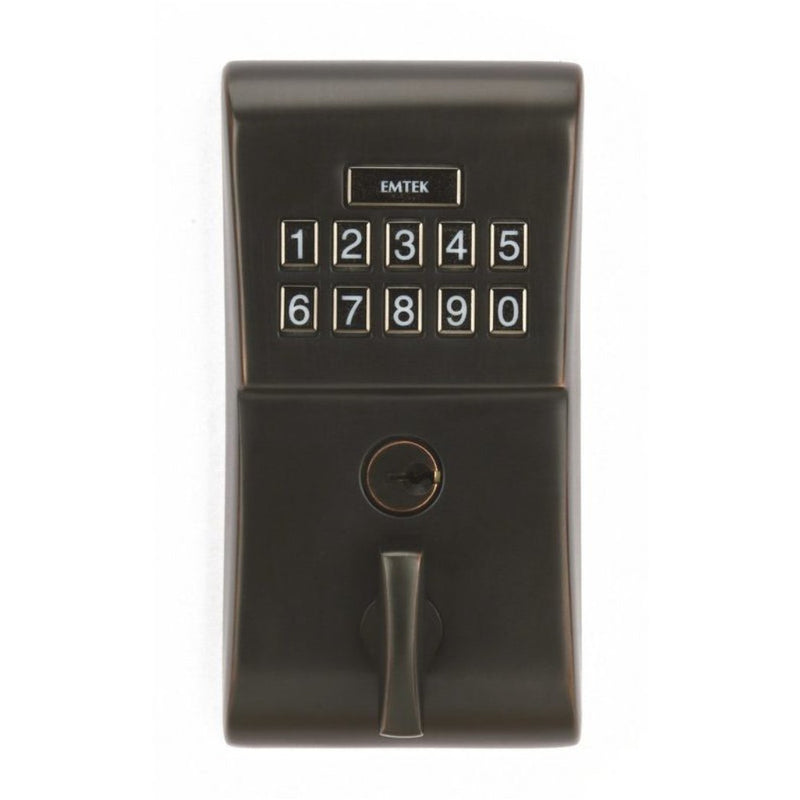 Emtek E1020 Single Cylinder Solid Brass Electronic Deadbolt from the Brass Modern Collection. - Designer Entryway door locks access control intercoms home automation