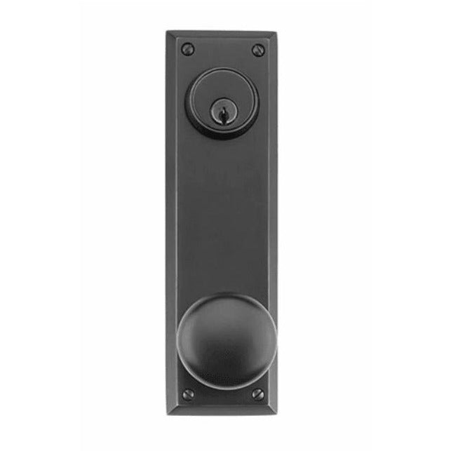 -Emtek 8080 Quincy Sideplate Single Cylinder Keyed Entry Door Knob or Lever Set with 3-5/8 Inch Center to Center - Designer Entryway door locks access control intercoms home automation
