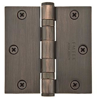 "-Emtek 94013 3-1/2"" x 3-1/2"" Plated Steel Heavy Duty Square Corner Ball Bearing Hinges - Pair - Designer Entryway door locks access control intercoms home automation"