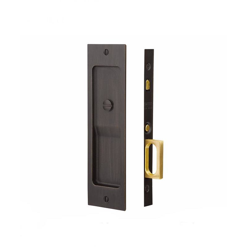 -Emtek 2124 8-1/2 Inch Tall Passage Mortise Pocket Door Lock from the Rustic Modern Rectangular Collection - Designer Entryway door locks access control intercoms home automation
