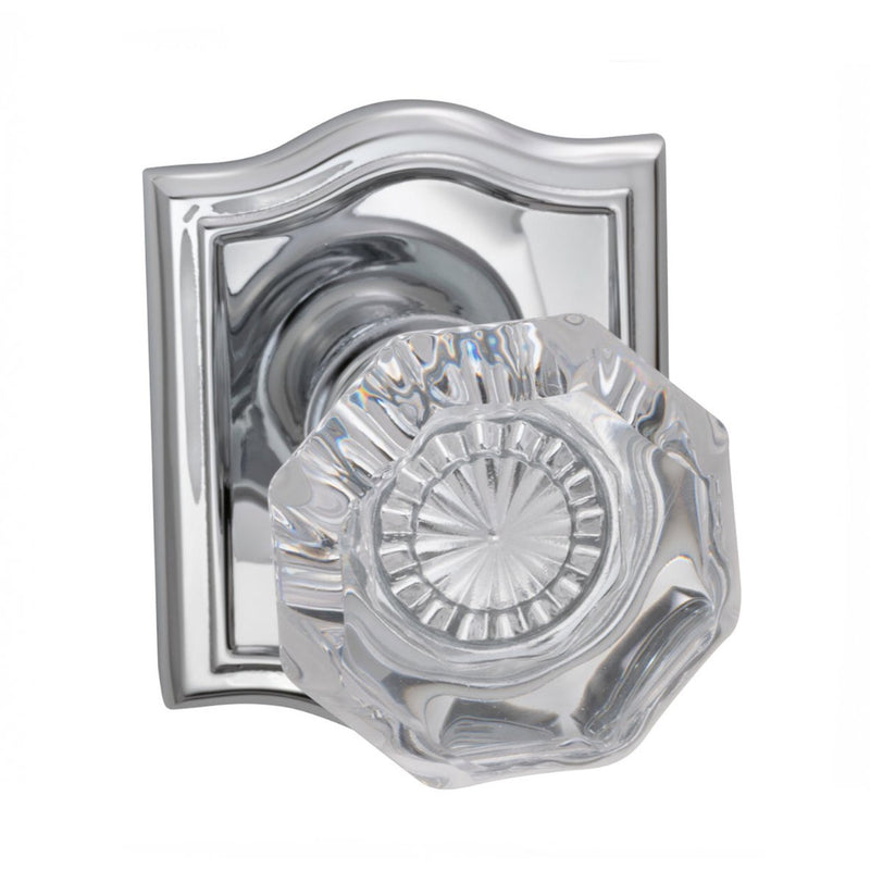 Omnia 955ARPR Privacy Door Knob Set with Glass Knob and Arched Rose from the Prodigy Collection - Designer Entryway door locks access control intercoms home automation