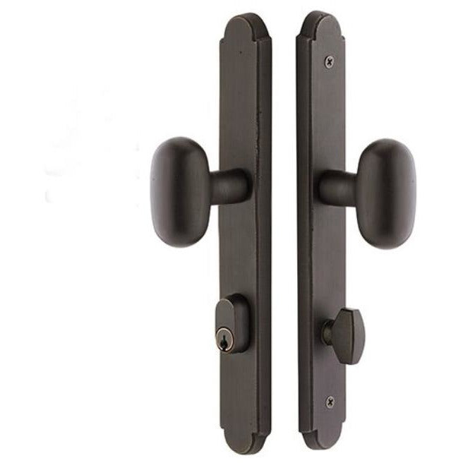 Emtek 4444 11 Inch Stretto Arched Single Cylinder Keyed Sideplate Entry Set from the Sandcast Bronze Collection - Designer Entryway door locks access control intercoms home automation