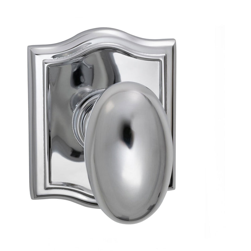 Omnia 434ARPA Passage Door Knob Set with Egg Knob and Arched Rose from the Prodigy Collection - Designer Entryway door locks access control intercoms home automation