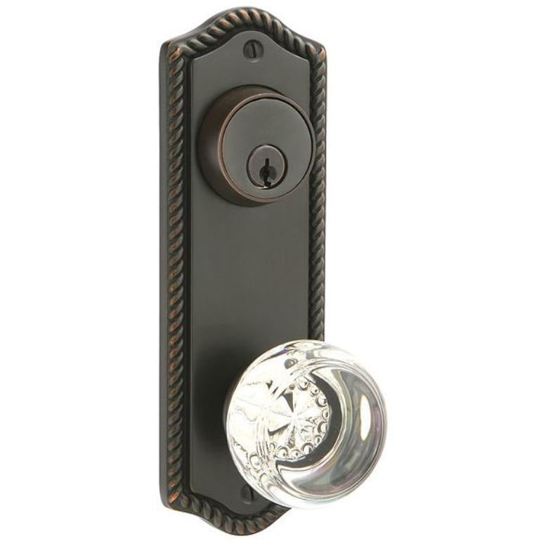 Emtek 7991 Rope Sideplate Designer Brass Double Cylinder Entry Set. - Designer Entryway door locks access control intercoms home automation