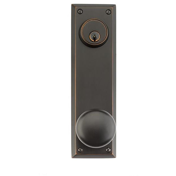 Emtek DC8981 Quincy Sideplate Classic Brass Entry Set. - Designer Entryway door locks access control intercoms home automation