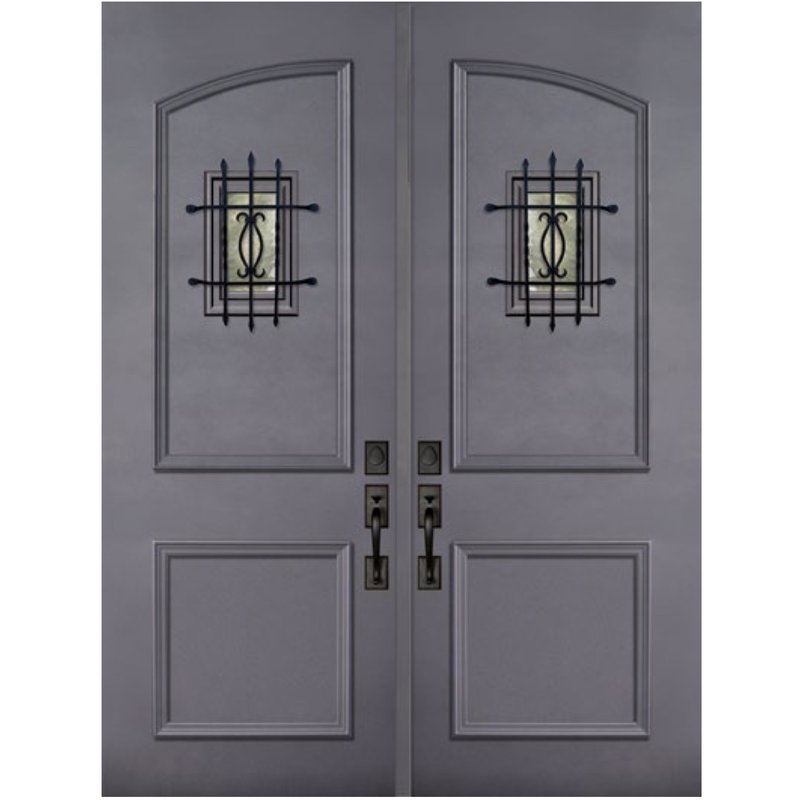 GlassCraft ThermaPlus® 2 Panel Square Top Double with Speakeasy • 8 ́0 ̋ Tall - Designer Entryway door locks access control intercoms home automation