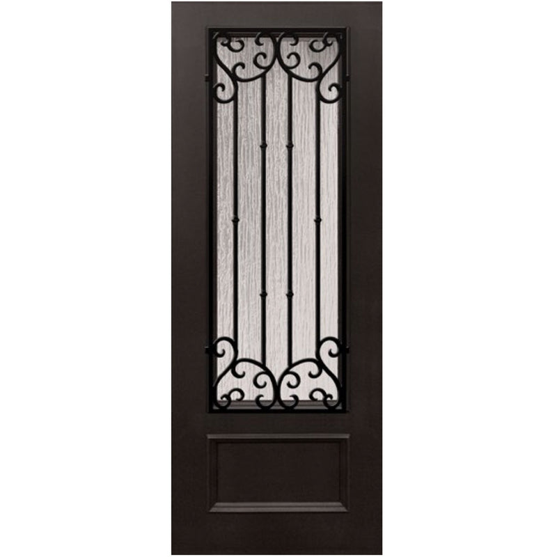 "GlassCraft 1 Panel 3/4 Lite Valencia • 3'0"" x 8 ́0 ̋ Tall ThermaPlus Pre-Hung - Designer Entryway door locks access control intercoms home automation"