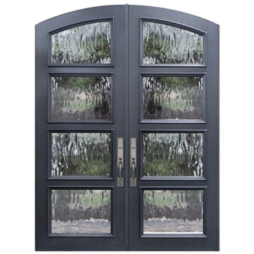 "GlassCraft Arch Top Double Continental Collection 4 Lite Glass Pre-Hung 6'0"" x 8'0"" ThermaPlus Continental - Designer Entryway door locks access control intercoms home automation"