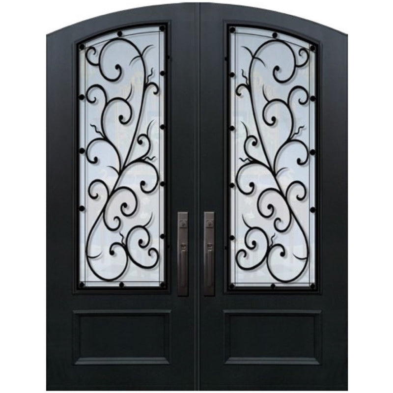 "GlassCraft 1 Panel Arch Top Arch Lite Double Bellagio • 6'0"" x 8 ́0 ̋ Tall ThermaPlus®Pre-Hung - Designer Entryway door locks access control intercoms home automation"