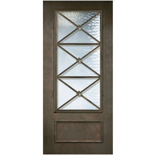 "GlassCraft 1 Panel 3/4 Lite Republic • 3'0"" x 6 ́8 ̋ Tall ThermaPlus Pre-Hung - Designer Entryway door locks access control intercoms home automation"