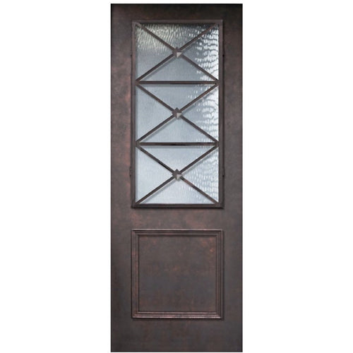 GlassCraft 1 Panel 2/3 Lite Lite Republic • 8 ́0 ̋ Tall ThermaPlus® Pre-Hung - Designer Entryway door locks access control intercoms home automation