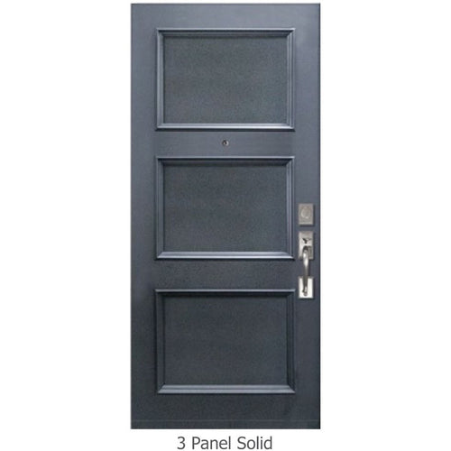 "GlassCraft Panel/Lite Continental Collection •3'0"" x 6'8 ̋ Tall solid 3 panel ThermaPlus® Pre-finished & Pre-Hung - Designer Entryway door locks access control intercoms home automation"