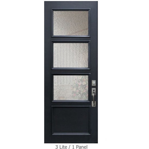 "GlassCraft Panel/Lite Continental Collection •3'0"" x 8 ́0 ̋ Tall ThermaPlus® Pre-finished & Pre-Hung 3'0"" x 8'0"" 3 Lite - Designer Entryway door locks access control intercoms home automation"