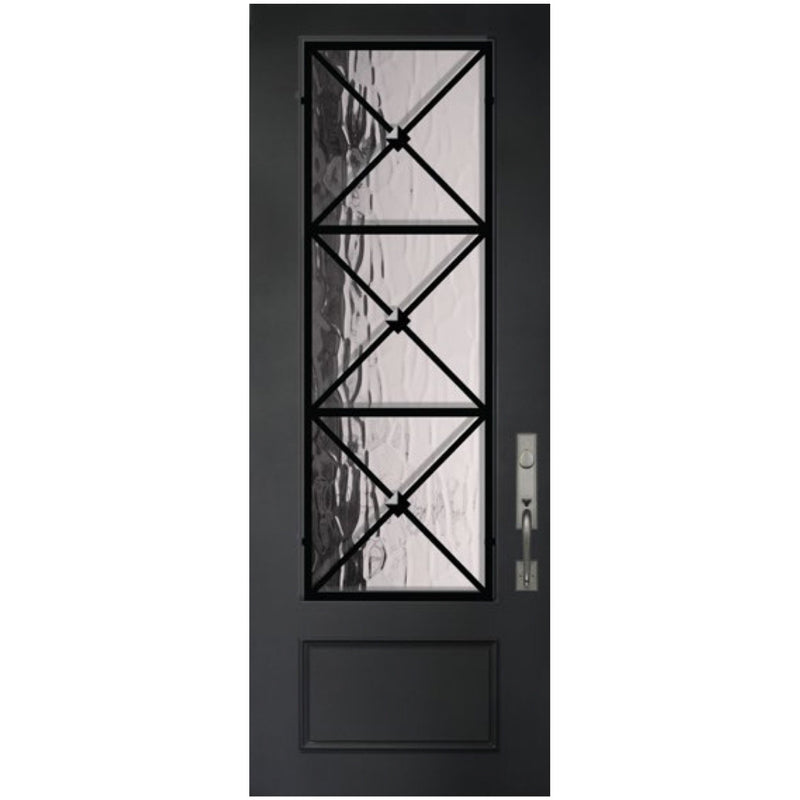 "GlassCraft 1 Panel 3/4 Lite Republic • 3'0"" x 8 ́0 ̋ Tall ThermaPlus Pre-Hung - Designer Entryway door locks access control intercoms home automation"