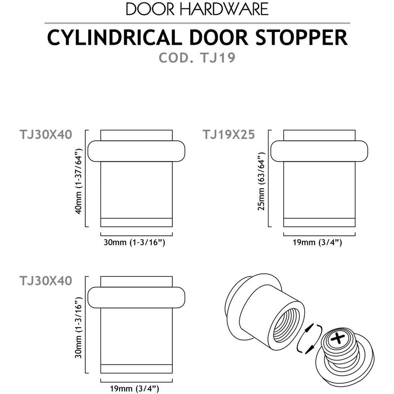 Cylindrical Floor door stop model TJ19 - Designer Entryway door locks access control intercoms home automation
