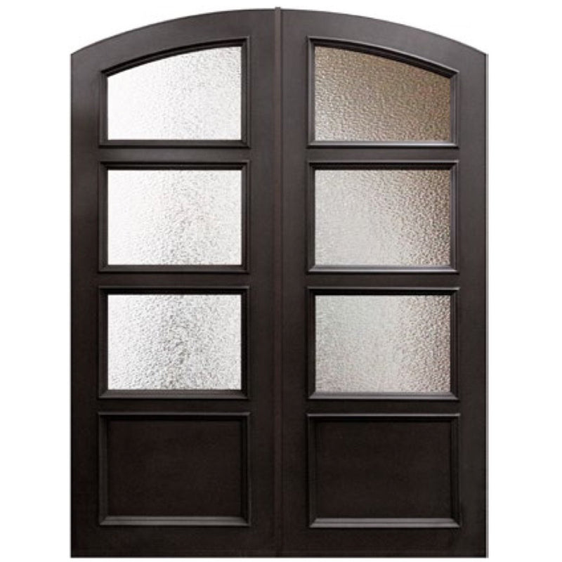 "GlassCraft Arch Top Double Continental Collection 3 Lite Glass Pre-Hung 6'0"" x 8'0"" ThermaPlus Continental - Designer Entryway door locks access control intercoms home automation"