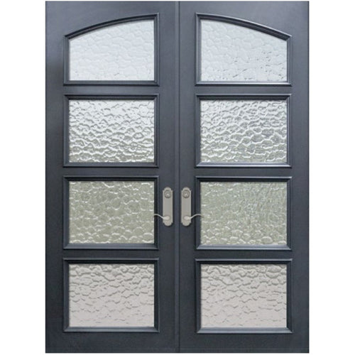 "GlassCraft Square Top Double Continental Collection 4 Glass Lite Pre-finished & Pre-Hung 6'0"" x 8'0"" ThermaPlus Continental - Designer Entryway door locks access control intercoms home automation"