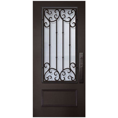 "GlassCraft 1 Panel 3/4 Lite Valencia • 3'0"" x 6 ́8 ̋ Tall ThermaPlus Pre-Hung - Designer Entryway door locks access control intercoms home automation"