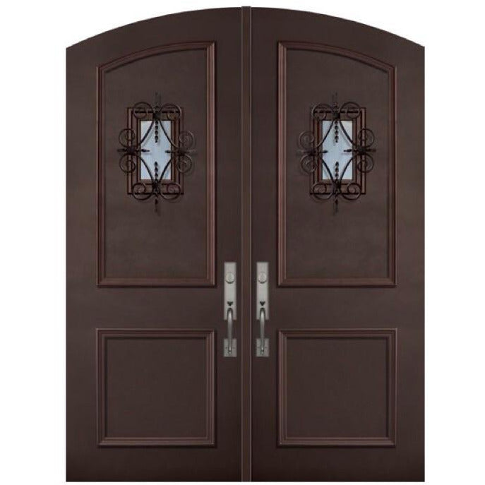 GlassCraft ThermaPlus® 2 Panel Arch Top Double with Speakeasy • 8 ́0 ̋ Tall Pre-Hung - Designer Entryway door locks access control intercoms home automation