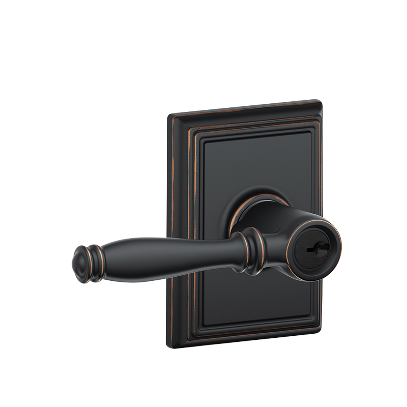 Birmingham Lever with Addison trim Keyed Entry Lock - Designer Entryway door locks access control intercoms home automation