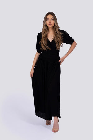 Zoe Wrap Top | Black