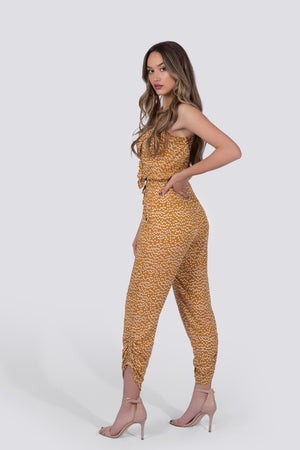 Chloe Jumpsuit | Yellow Polka Dot