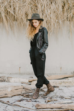 Juliette Jumpsuit Cross Back |  Black