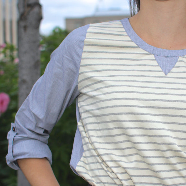 Comme toi striped blouse with shirt blue sleeves