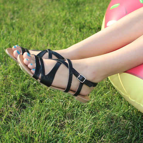 Qupid black strappy sandals