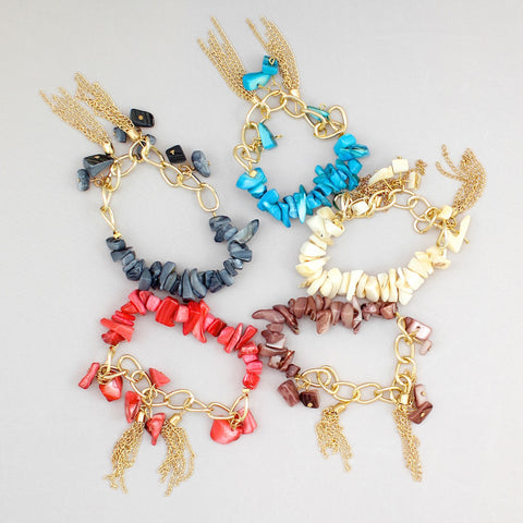 Colorful tassel bracelets with gold chain