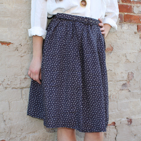 Comme Toi blue midi skirt with boho print and belt