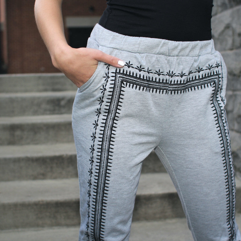 grey blu pepper sweatpants with embroidered detailing