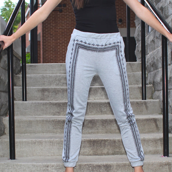 Gray blu pepper sweatpants with embroidered aztec detailing