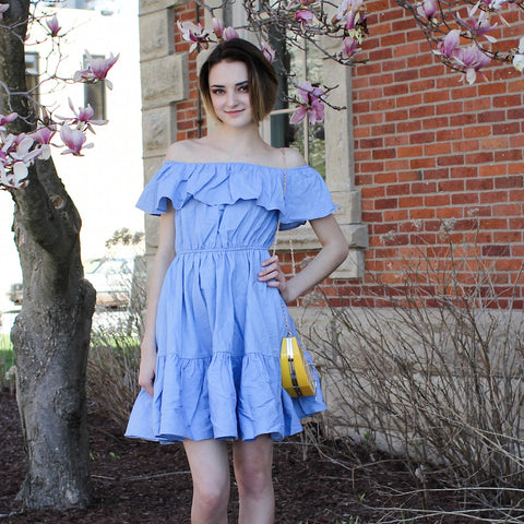 English Factory fashion blogger trend off the shoulder blue dress with ruffles