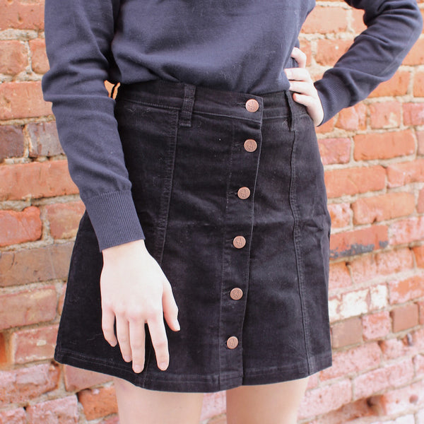 Mink pink black button down corduroy skirt