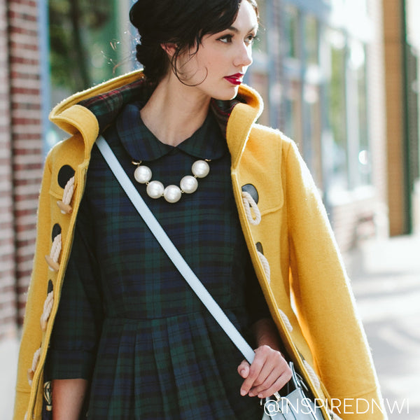 Kling Navy and green plaid dress