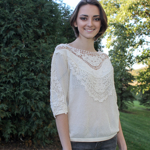 romantic molly bracken knitted top with beautiful lace detail