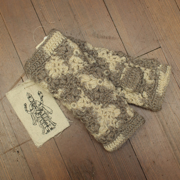 Nirvanna handmade knitted fingerless gloves