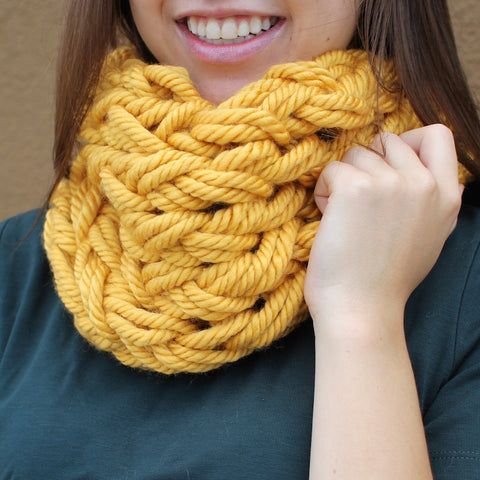 Handmade yellow cowl with lace bow details